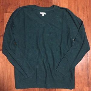 Croft & Barrow V Neck Green Sweater